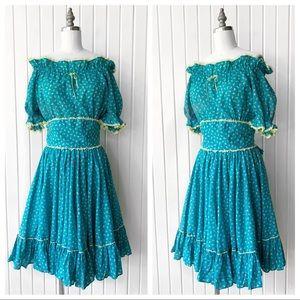 Vintage Square Dance Mirco Floral Pattern Dress